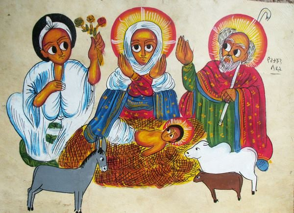 Ethiopian Icon Of The Nativity Check Out The