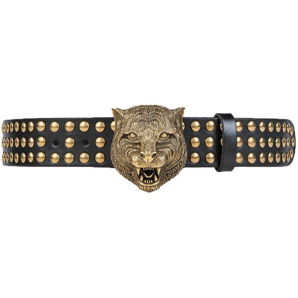Gold Studded Leather Belt