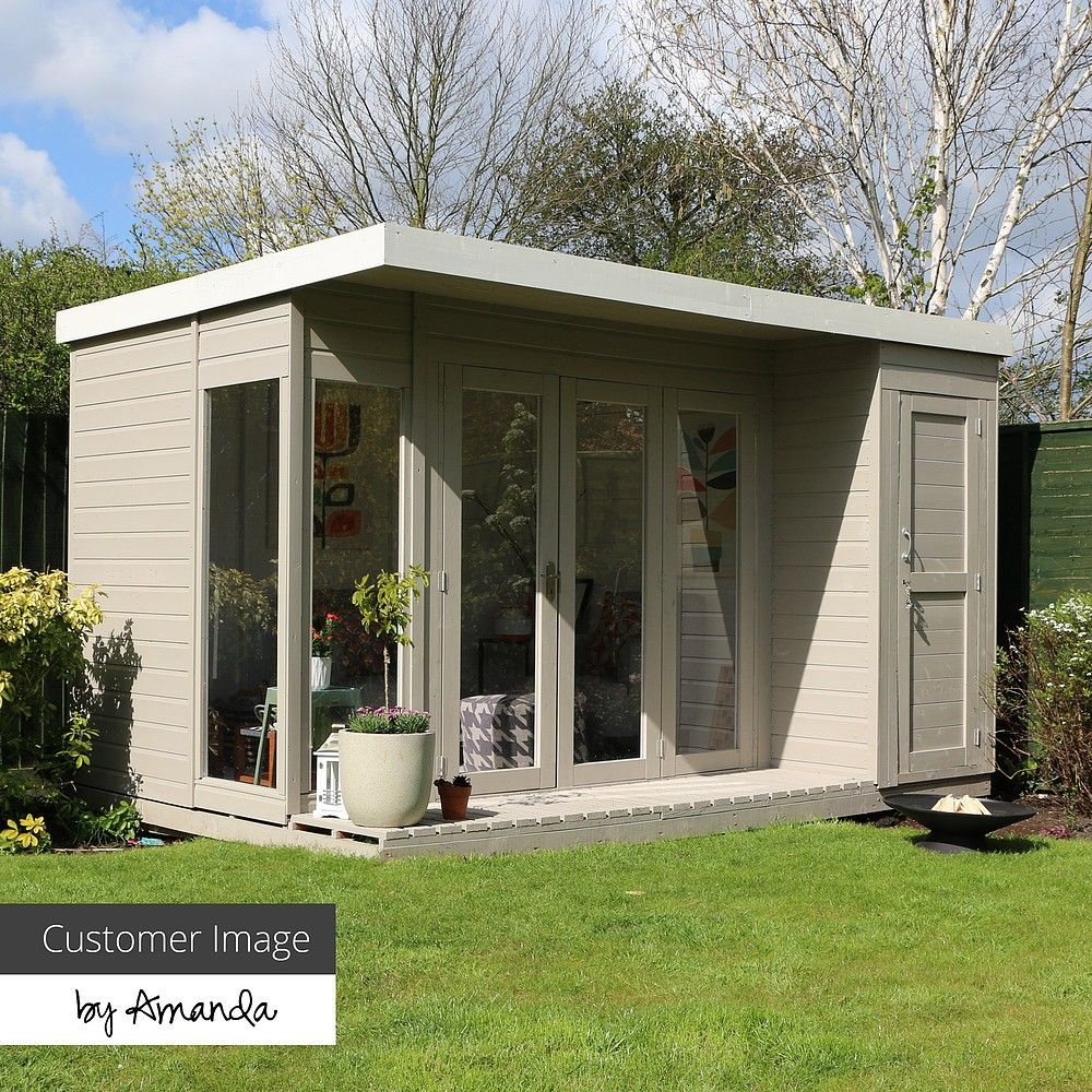 12 X 8 Contemporary Summerhouse With Side Shed Shed Plans Diy Shed Plans Summer House Modern backyard shed ideas