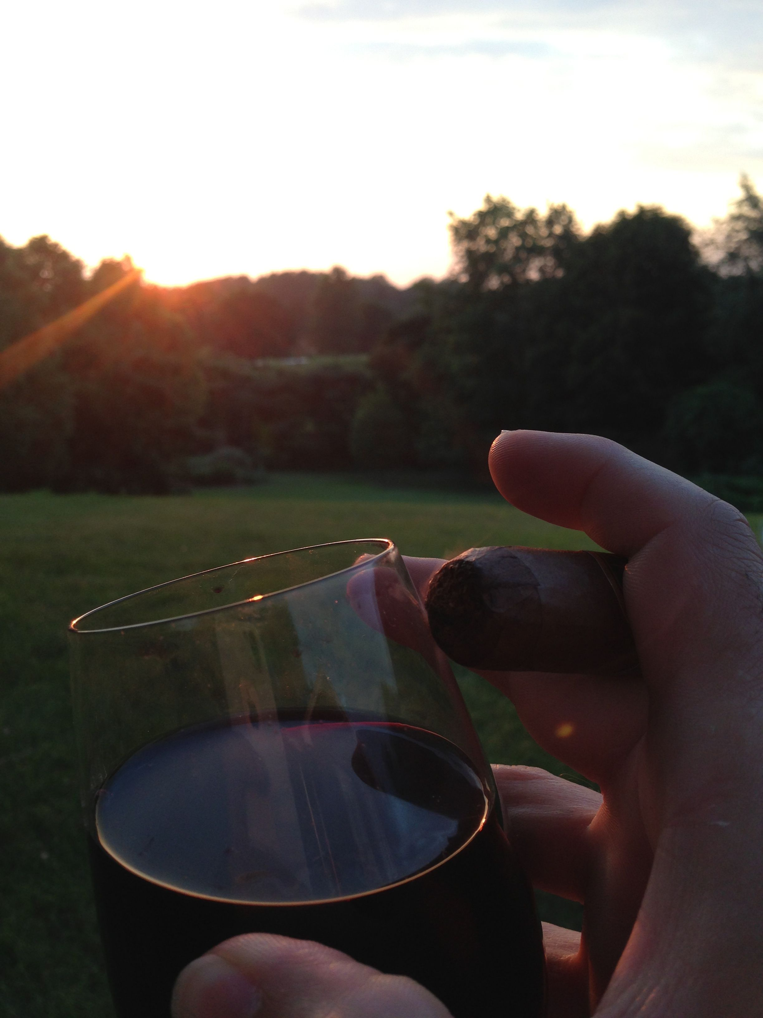 Thee way to enjoy a sunset, a glass of Cab, a nice cigar, a beautiful woman-my wife, and birds singing the day away.
