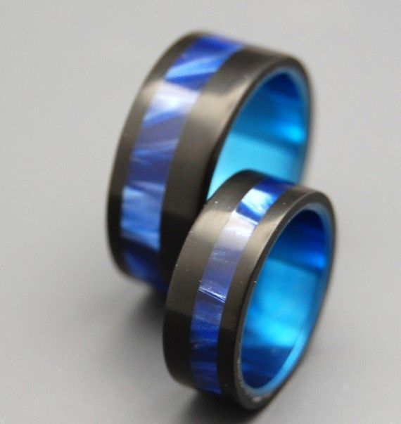 Titanium Wedding And Engagement Ring Sets (3 Rings)
