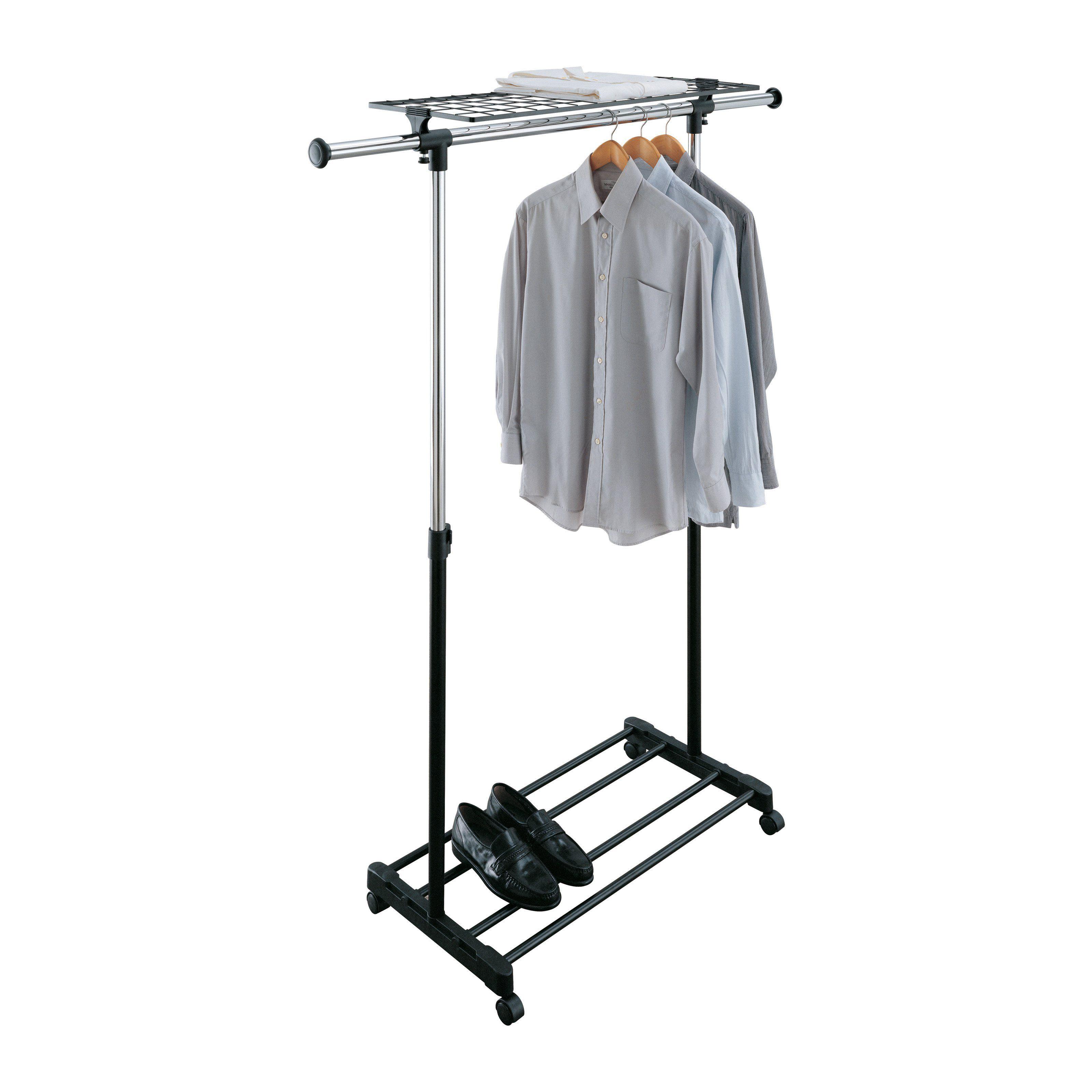 Organize it all adjustable garment rack with shelf blackchrome