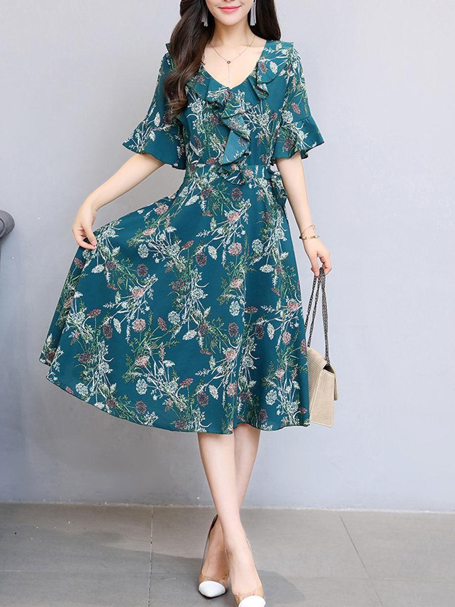 Fashionmia fashionmia vneck bell sleeve printed chiffon