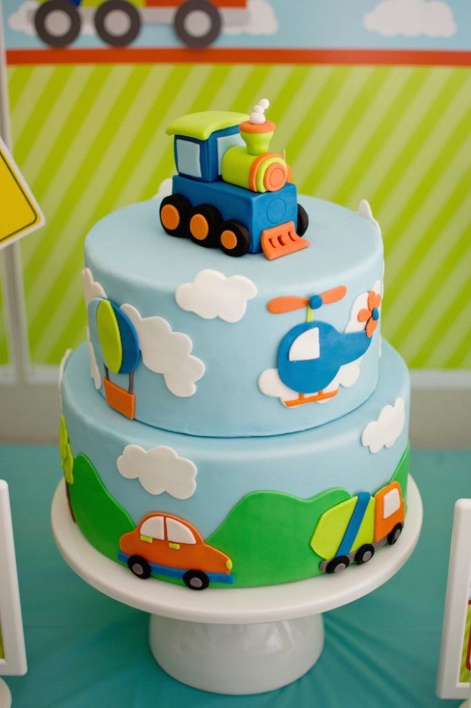 Transportation Themed Birthday Party Via Kara S Party Ideas Karaspartyideas Com 35 Kara S Par Baby Boy Birthday Cake Birthday Cake Kids Baby Birthday Cakes