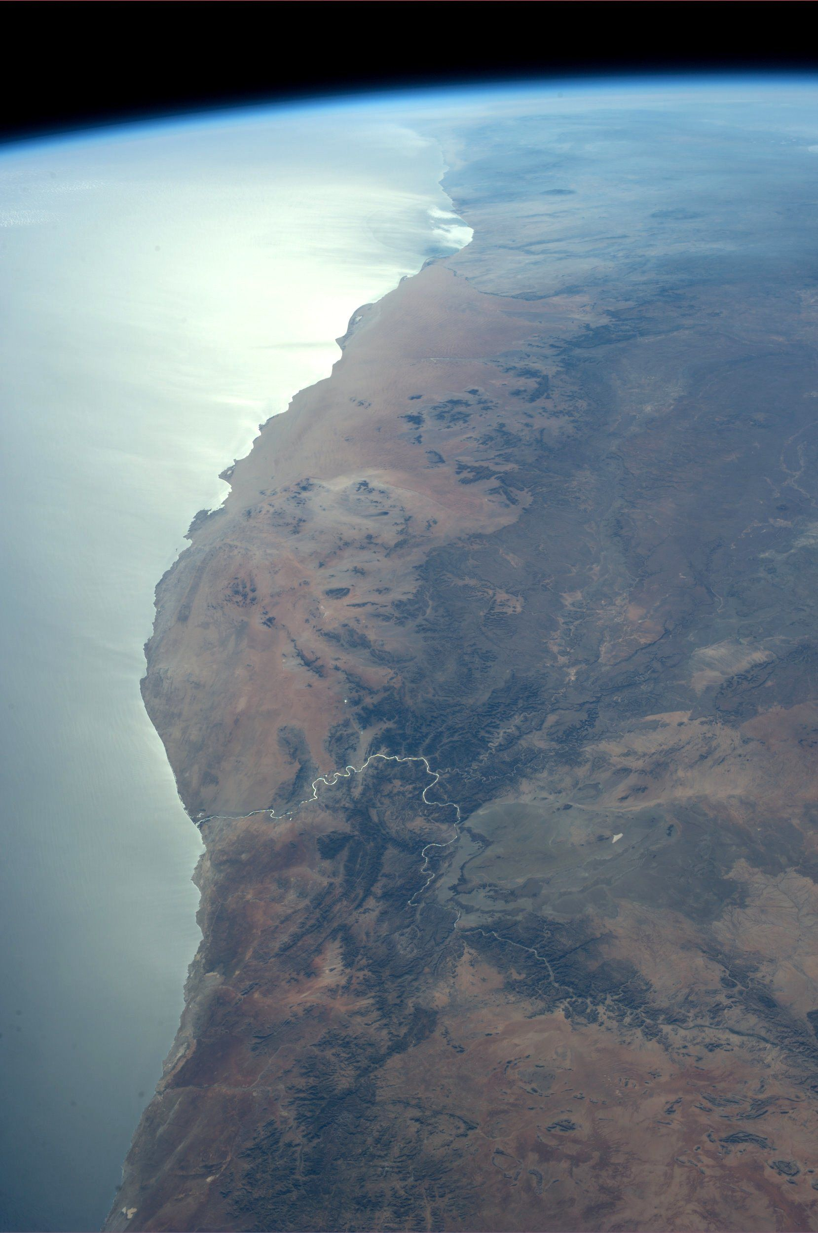South Africa and Namibia.  Taken July 20, 2013.  KN from space.