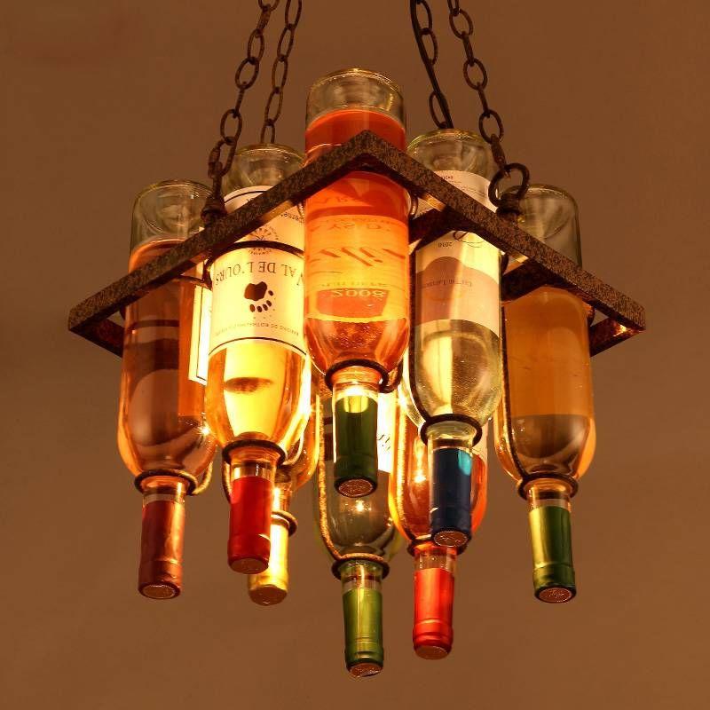 Nordic Modern Art Creative Chandeliers Retro Wine Bottle Chain