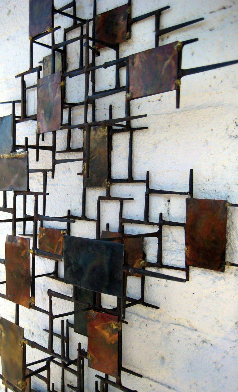 A Vintage 1960 S Copper And Steel Mid Century Modern Wall Sculpture 1stdibs Com Metal Tree Wall Art Scrap Metal Art Antique Sculpture