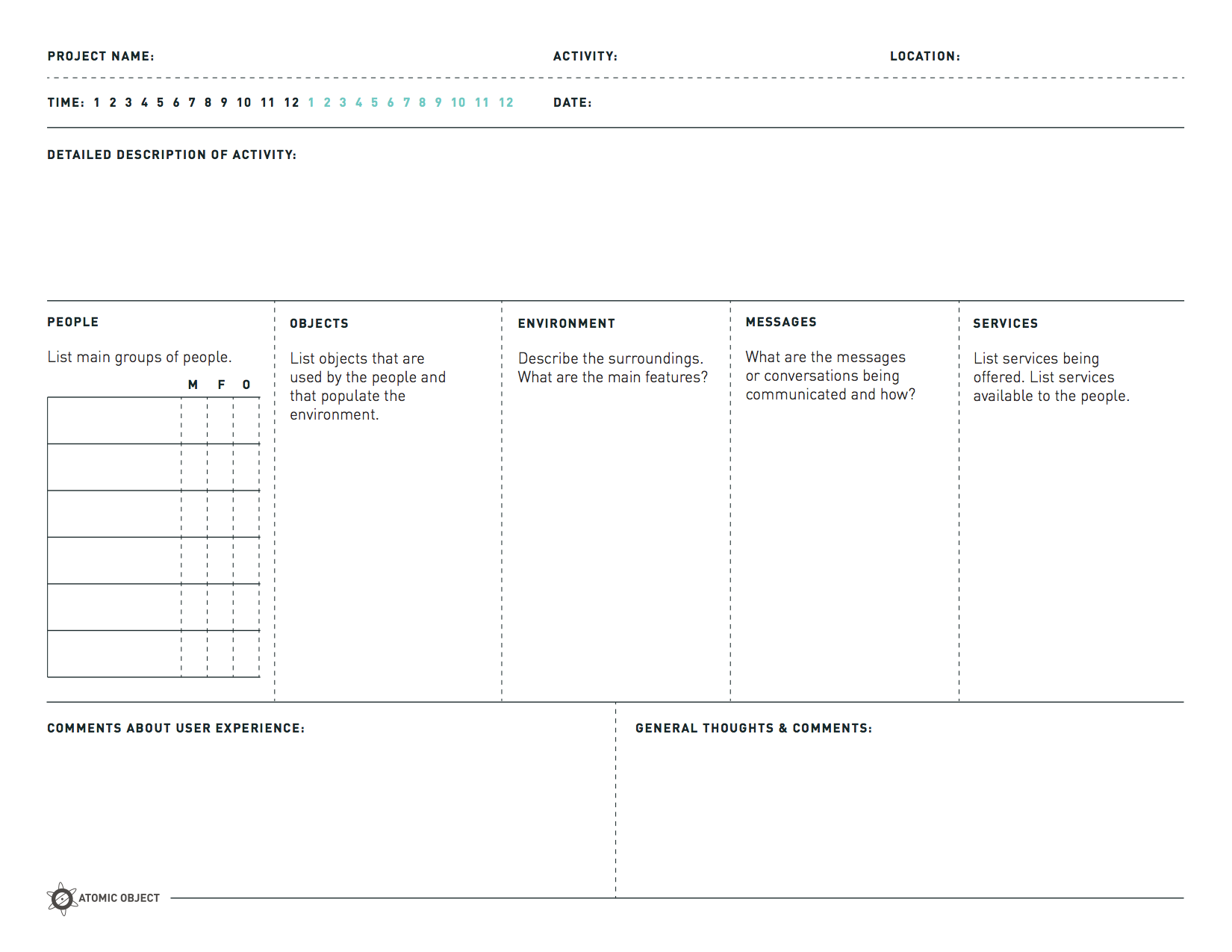 The Poems Method For User Observation Research Template