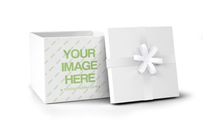 Download Online Mockup Template Of A Blank Gift Box With An Open Lid And Decorated With A Ribbon Choose Your Own C Gift Box Design Gift Boxes Online Christmas Gift Box