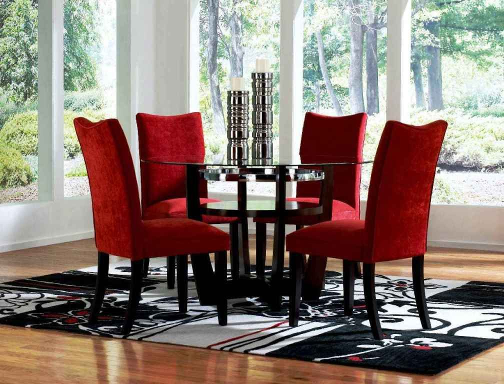 Red Dining Room Sets Cheap Round Glass Dining Table And Red Chairs Mesmerizing Red Dining Rooms Review