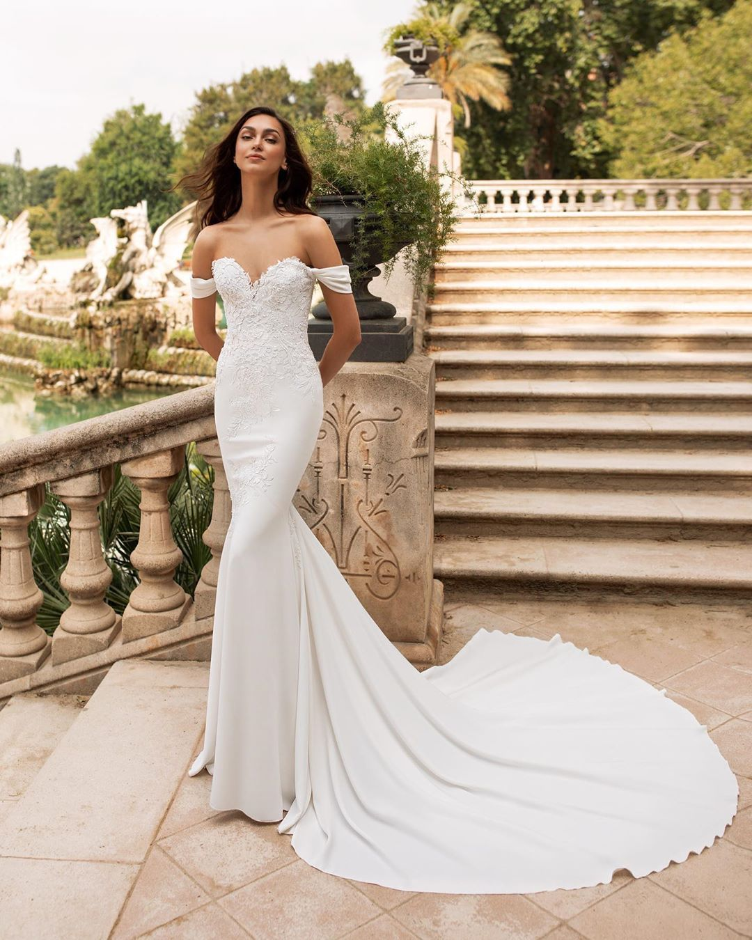 Pronovias On Instagram Dante A Spectacular Off The Shoulder Mermaid Dress With An Wedding Dress Long Sleeve Pronovias Wedding Dress Long Sleeve Bridal Gown [ 1350 x 1080 Pixel ]
