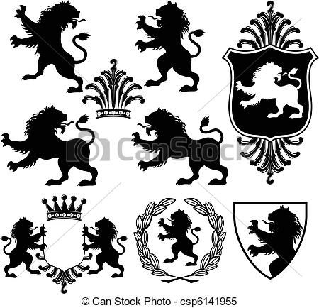 Clipart Vector Of Heraldic Lion Silhouettes Set Of Vector