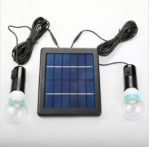 New Outdoor Indoor Solar Powered Led Lighting 2 Bulbs Lamp Led Light System Indoor Solar Lights Solar Deck Lights