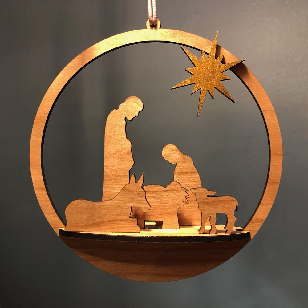 Merry Christmas! Nativity Ornament - Free Laser Designs ...
