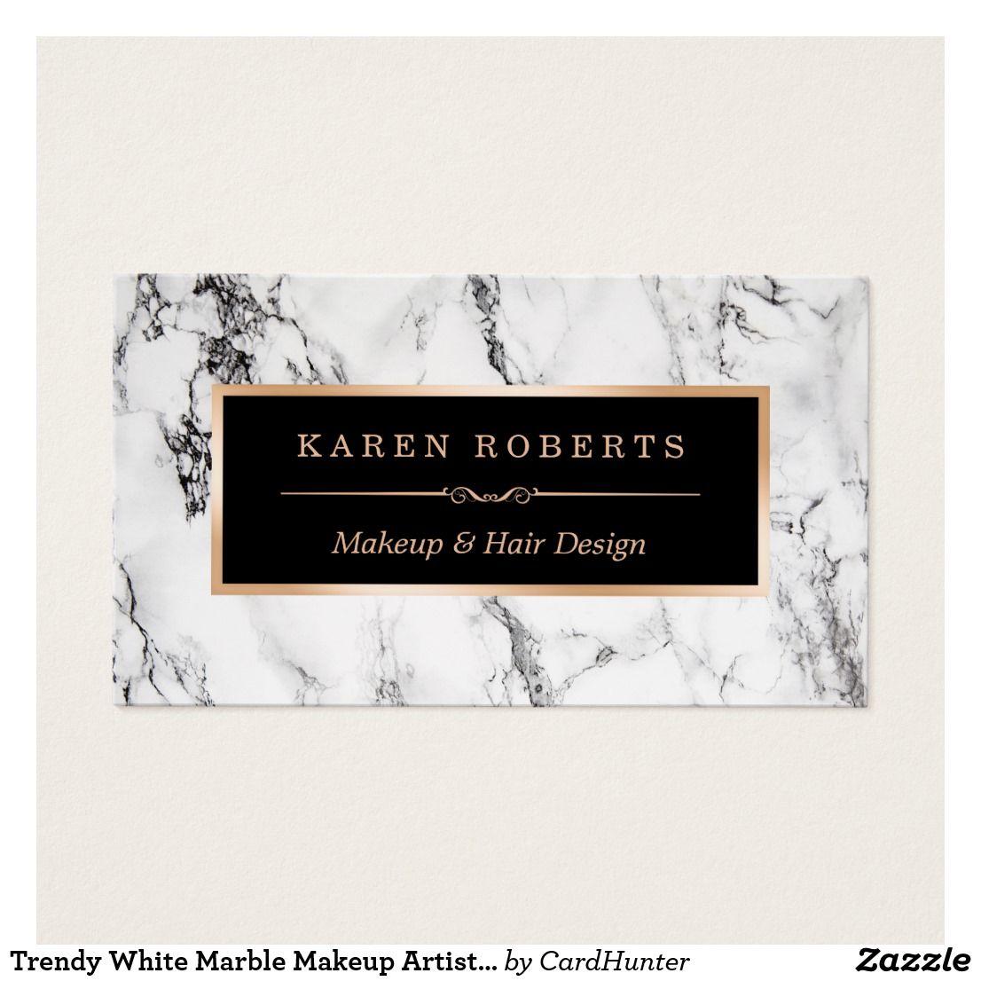 Trendy White Marble Makeup Artist Hair Salon Business Card White