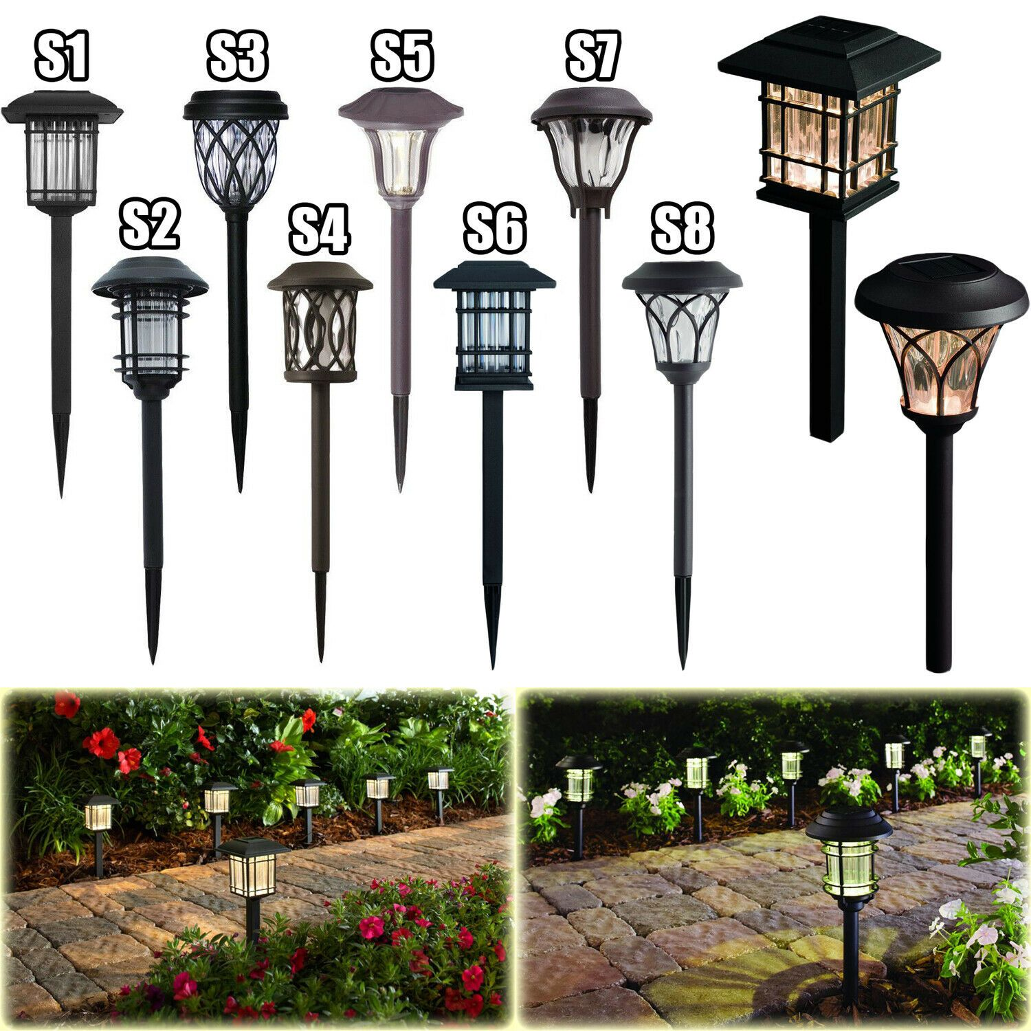 Details About Outdoor Solar Led Pathway Lights Walkway Garden Landscape Path Lighting 6 Pack Solar Pathway Lights Outdoor Solar Lights Bronze Lighting
