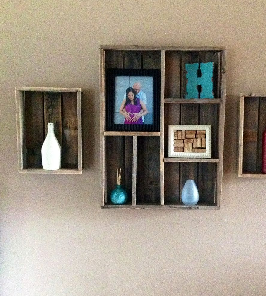 Salvaged wood wall shelf and shadow box set of 3 shadow box reclaimed wood wall shelf shadow box amipublicfo Gallery