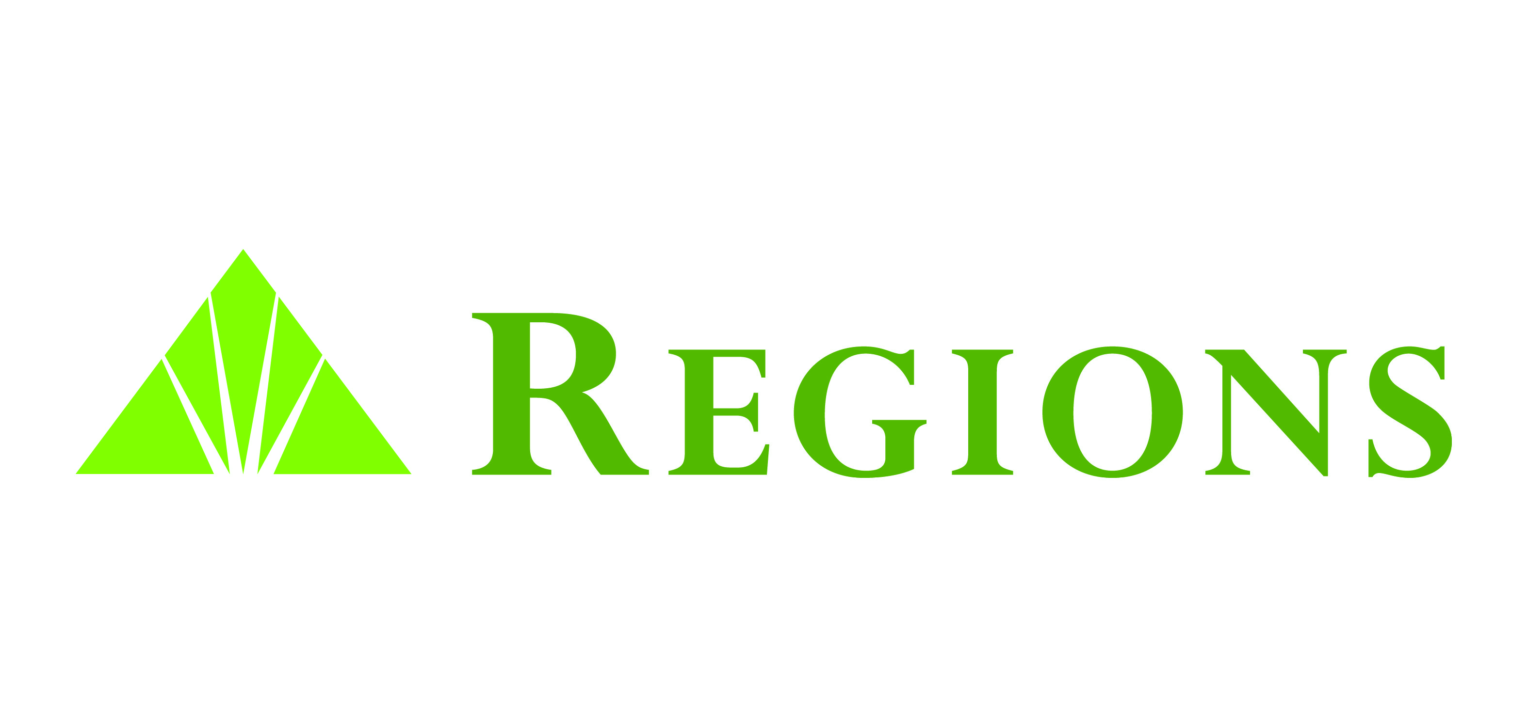 The official logo for Regions Bank, a pyramid  (with Amen