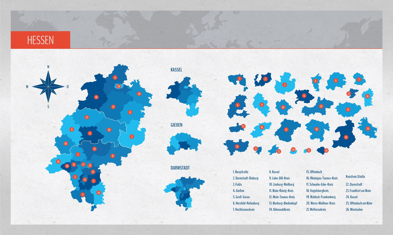 Landkarte Hessen Mit Landkreisen Landkarte Karten Und Hessen