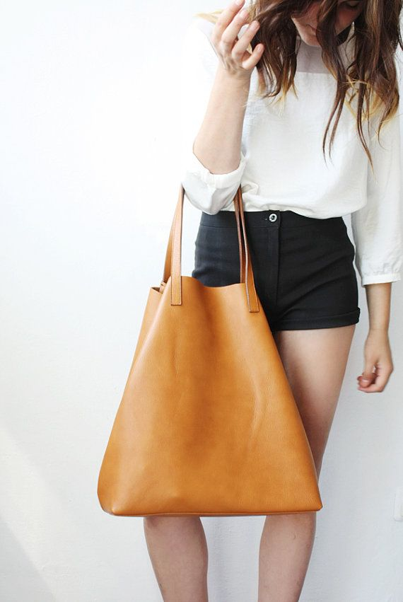 5e0007e00b86 Large Camel Leather Tote Bag Unlined DOMI LIMITED by MISHKAbags