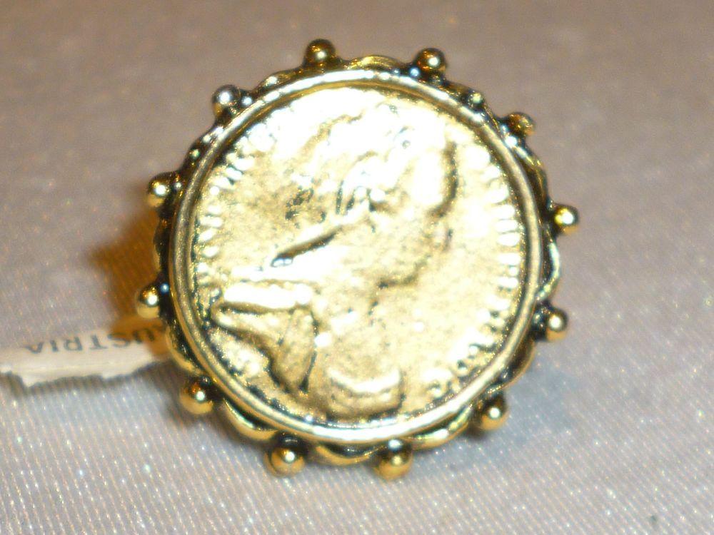 ALVA MUSEUM REPRODUCTION COIN RING-GOLD PLATE ADJUSTABLE #ALVASTUDIOSMUSEUMREPRODUCTION