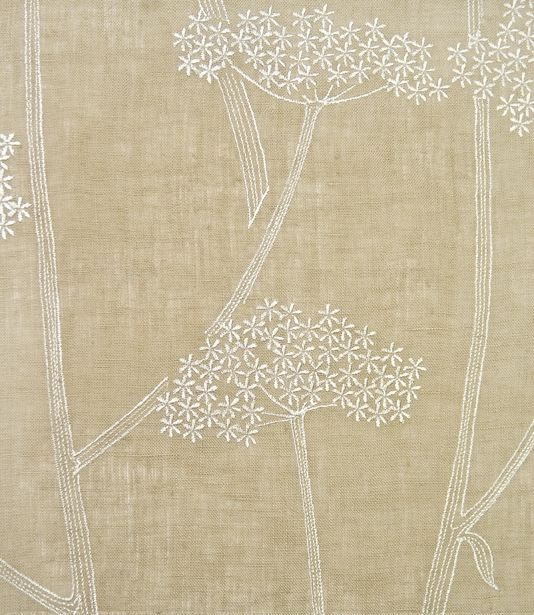 Anise Embroidered Fabric Taupe Linen With Aniseed Plant Design In White Suitable For Curtains And General Domestic Upholstery