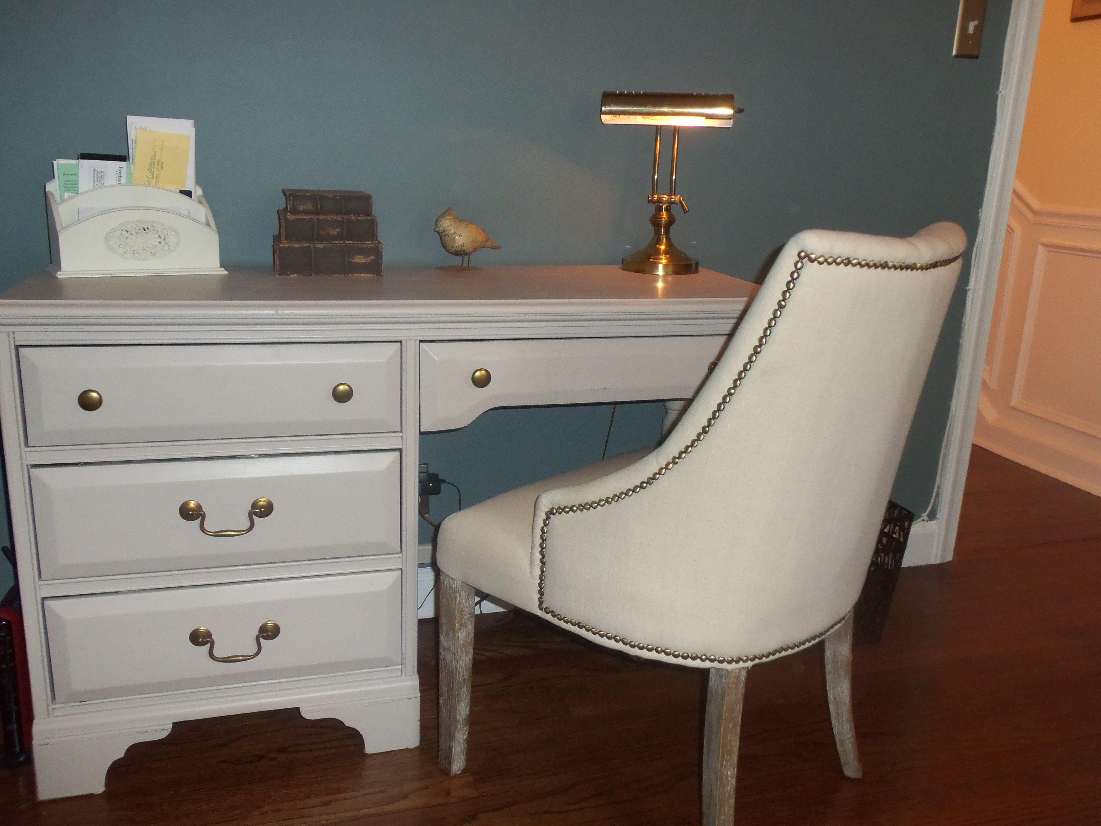 Refurbished desk & studded chair