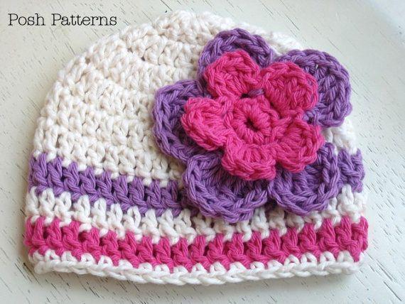 Crochet Pattern Crochet Pom Pom Beanie Pattern Hand Spun Yarn