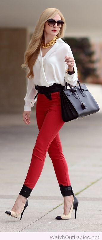 Red pants, white shirt for office | School outfit | Pinterest ...
