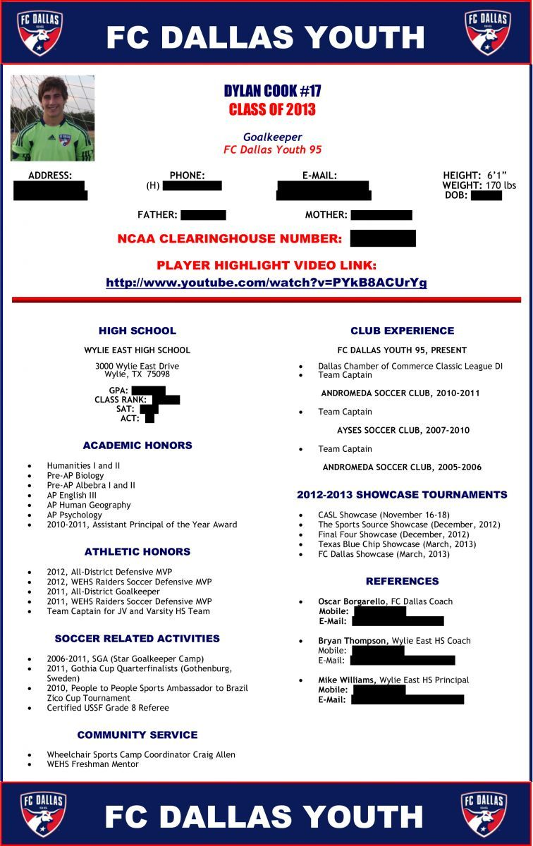 Soccer Player Profile Soccer Players Resume Template Players