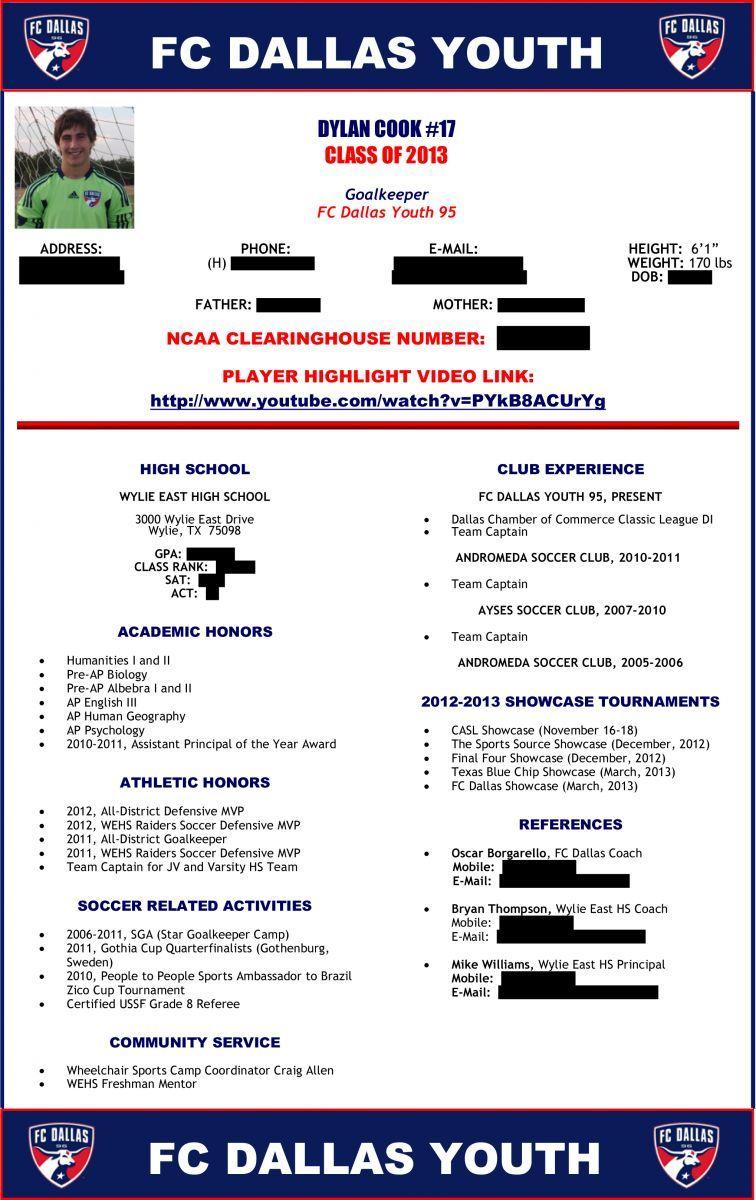soccer player profile sample 1 SOCCER Recruitment – Sample Soccer Team Roster Template