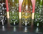 Hand Etched Glass: Day Of The Dead/Día de Muertos/ Sugar Skull Wine Bottle Lamp - Lamp/  Night Light / Nursery / Lamp/ Lantern/ Luminary