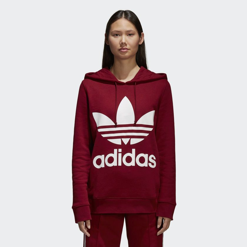 get cheap footwear factory outlets Women's Trefoil Hoodie Red CE2409 | Things that I want to ...
