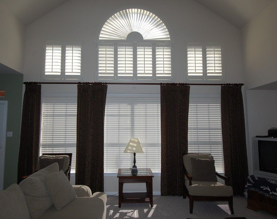 Interior Dark Ton Curtain On Wide Window Combined With White