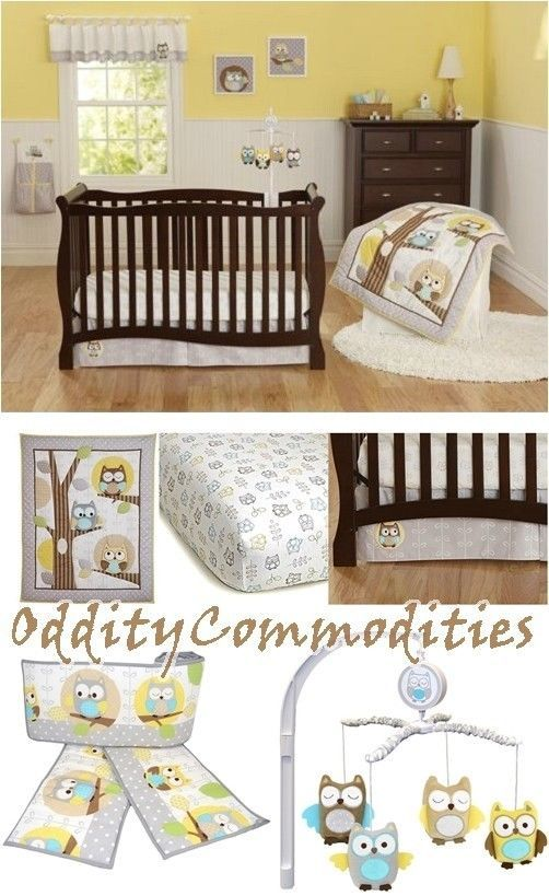 Yellow Gray Owl Neutral Baby Boy Nursery 8pc Crib Comforter Per Mobile Carters