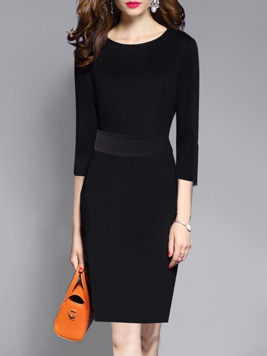 51a85a21aa #EnvyWe #BerryLook - #berrylook Round Neck Patch Pocket Plain Bodycon Dress  - EnvyWe.com