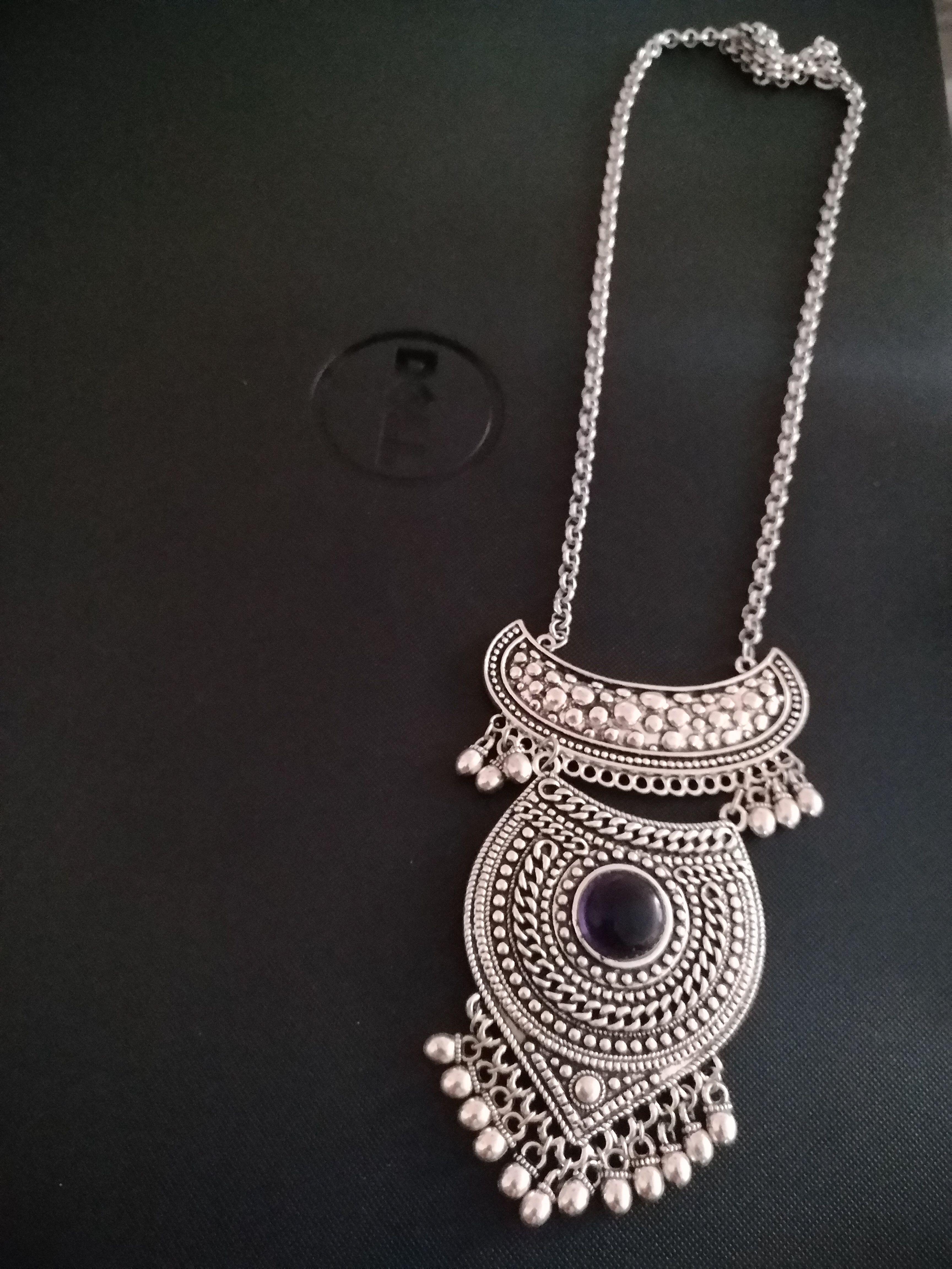 German silver oxidised chain pendant set oxidised pinterest