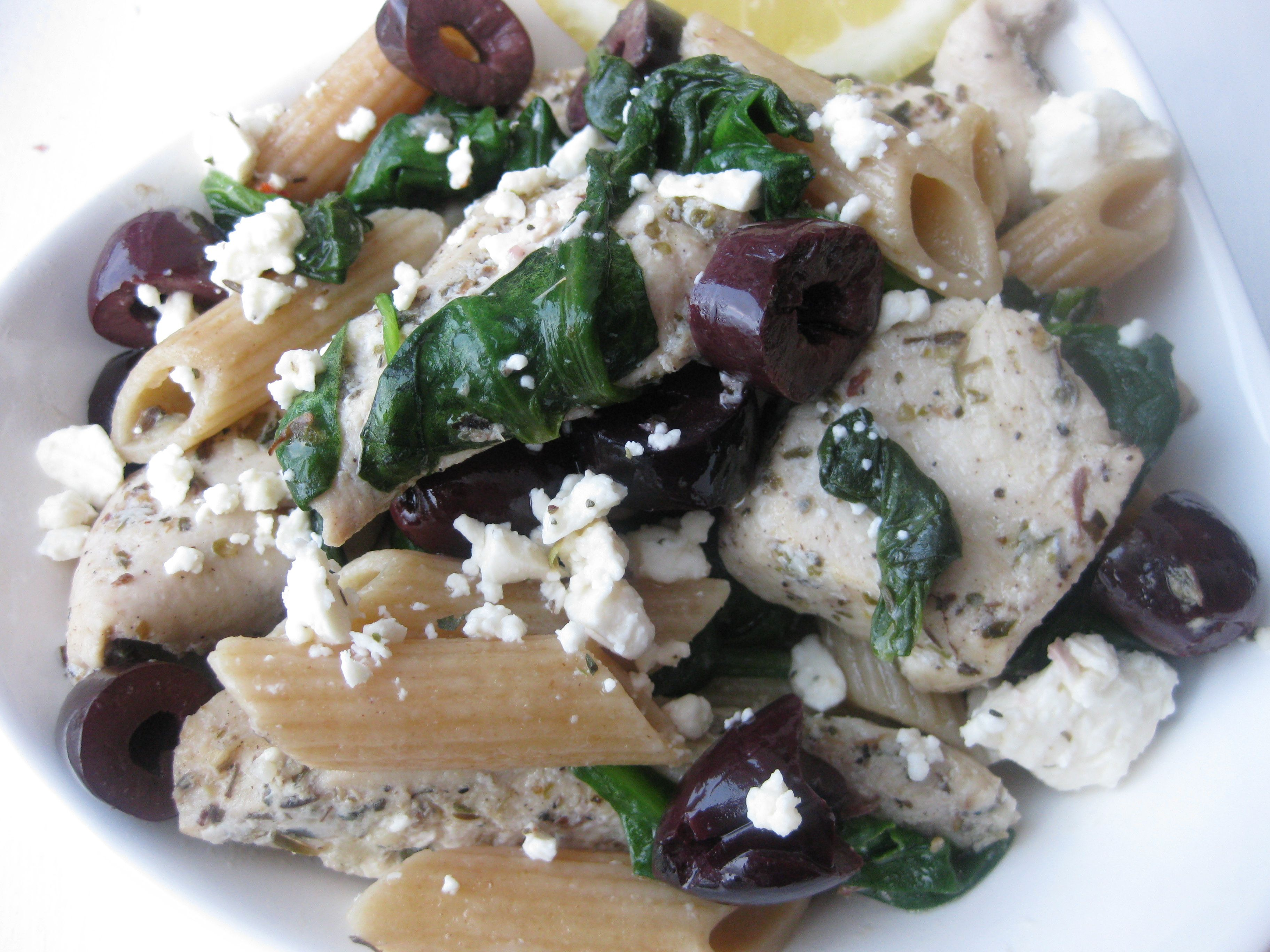 Greek Pasta Salad with Chicken, Feta, and Olives