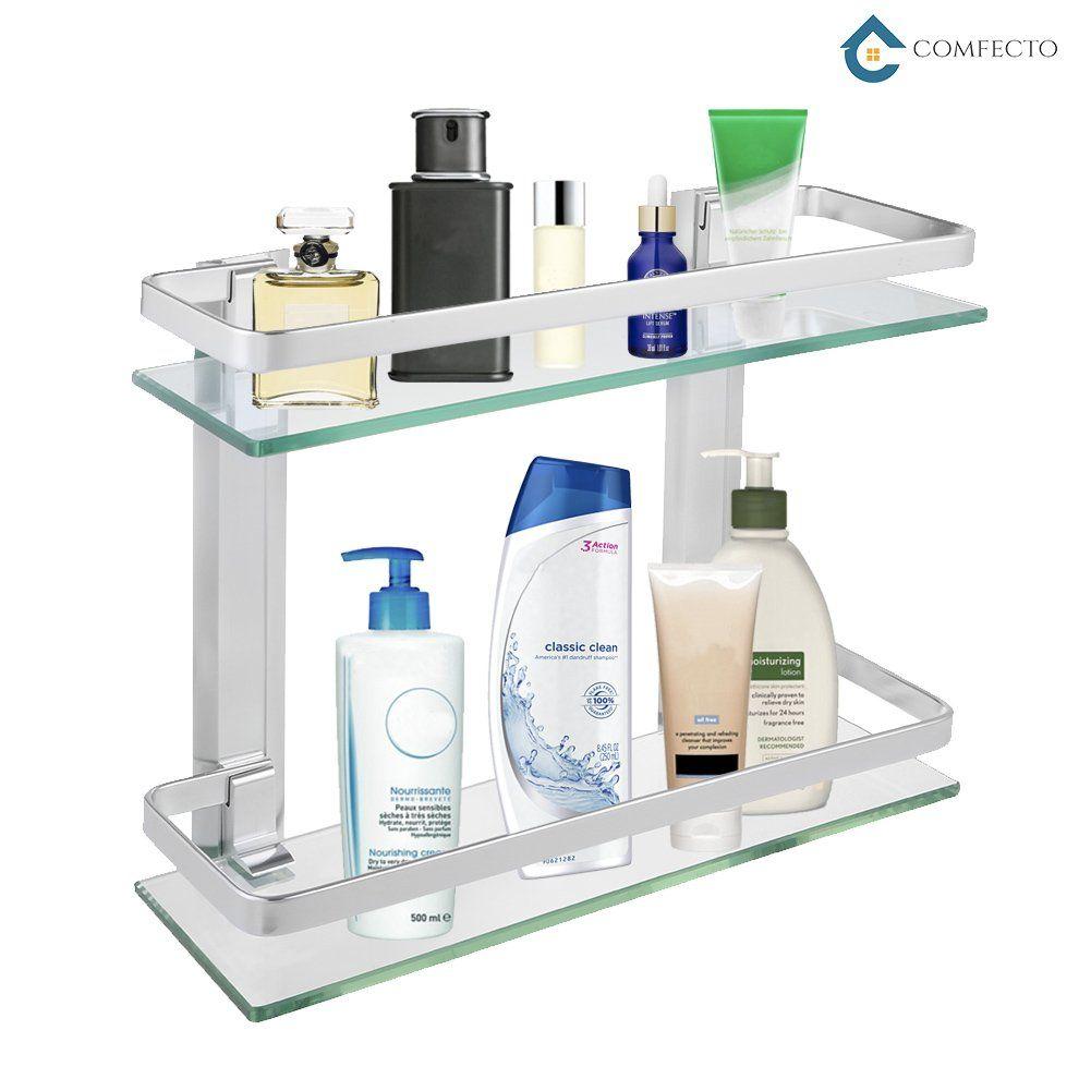 "bd400f1778a 2-Tier Bathroom Glass Shelf Shower Organizer Storage Holder Wall Mounted  with Anti-Rust Aluminum Rail 14"" x 5"" x 11"" Clean Look Glass Basket Caddy  for ..."