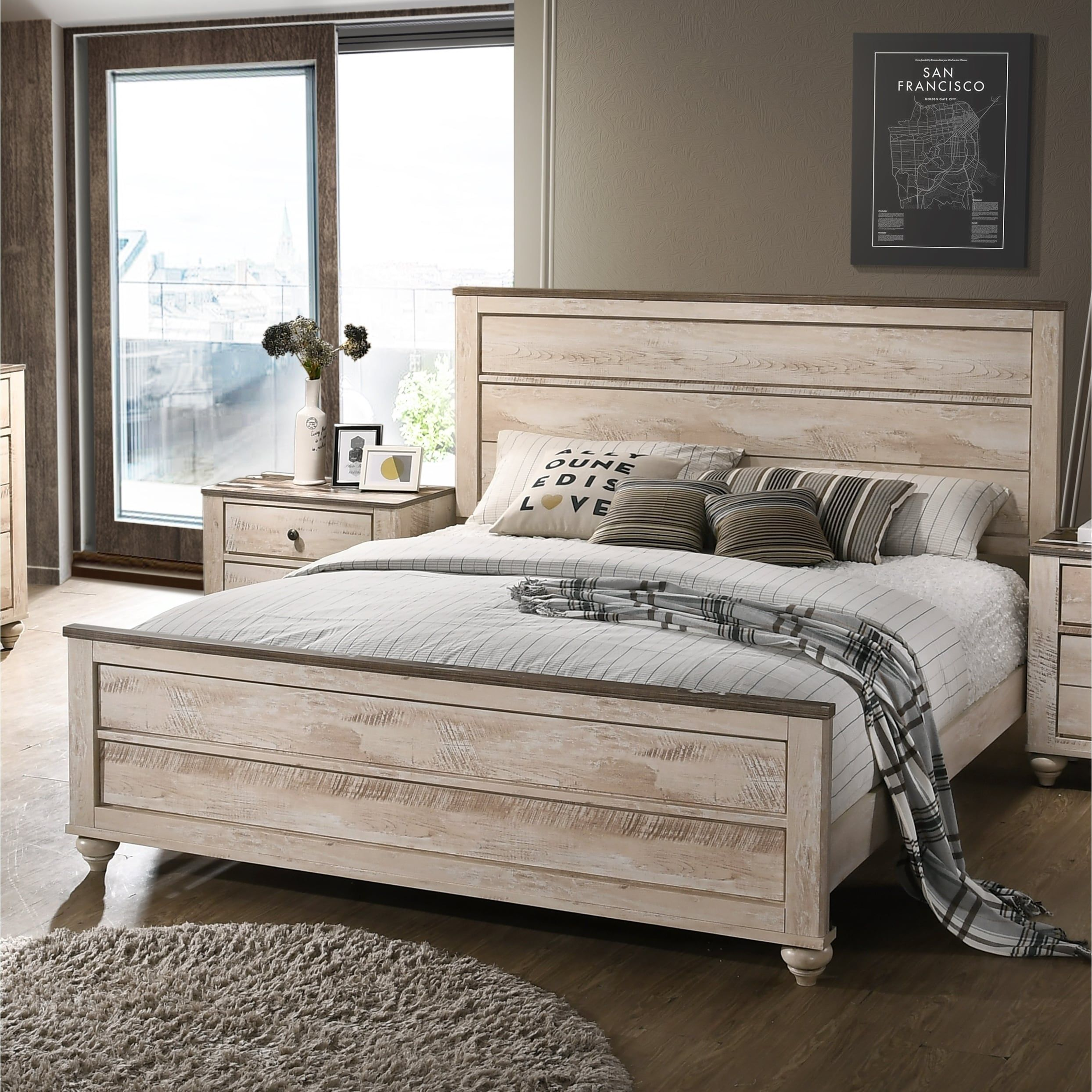Imerland Contemporary White Wash Finish Panel Bed (Queen ...