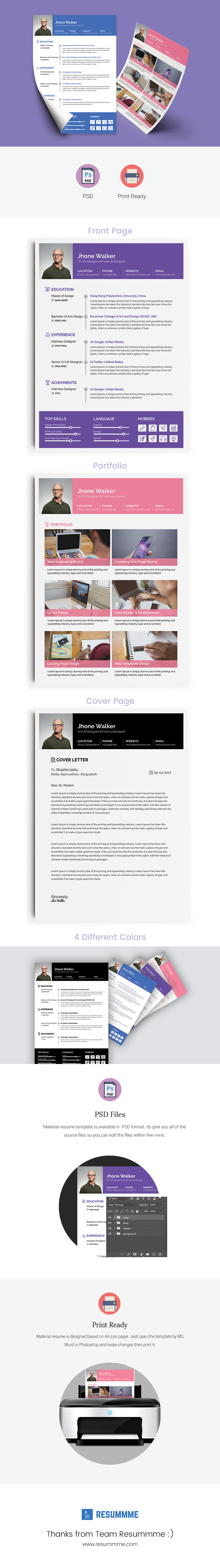 Free resume template psd clean and simple design print