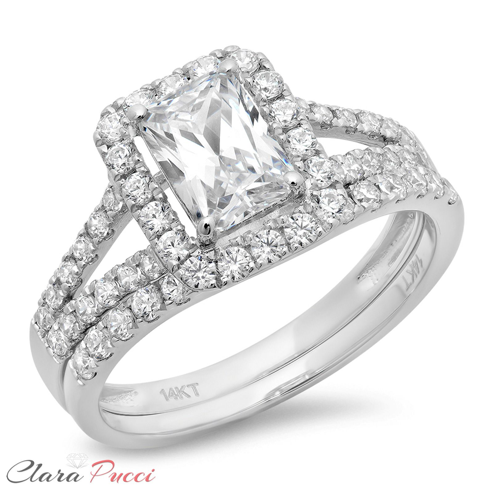 68107 jewelry 1.60 CT Emerald Cut Engagement Bridal Ring band set ...
