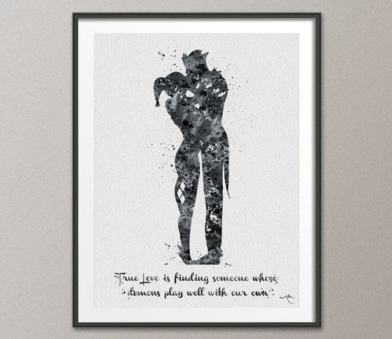 Joker and Harley Quinn Quote Watercolor Painting Print Fine Art Super Hero Wall