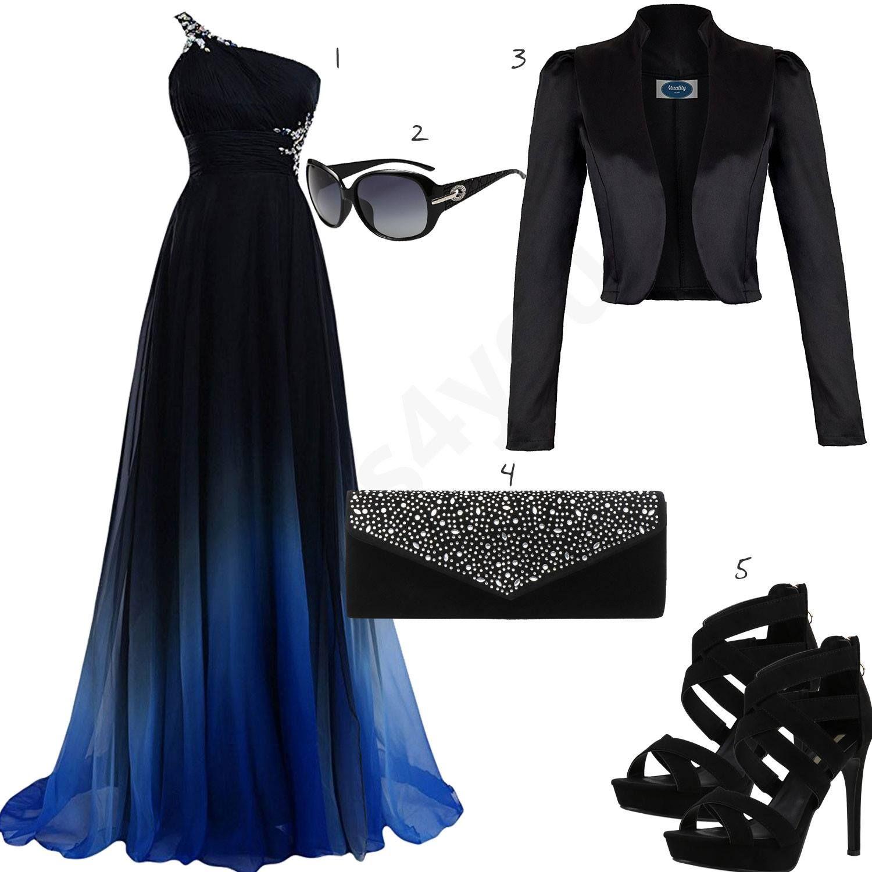 Traumhaftes Damen Outfit Mit Schwarz Blauem Kleid W0439