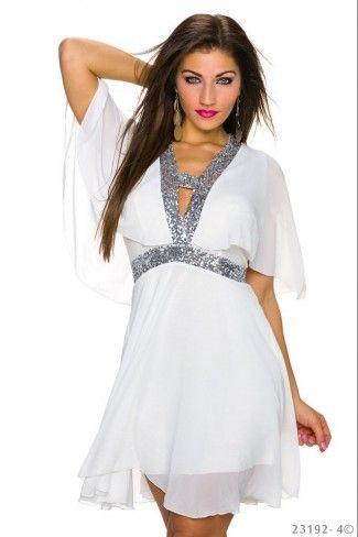 239d3df632d4 Εξώπλατο μίνι σιφόν φόρεμα με παγιέτες - Άσπρο Ασημί