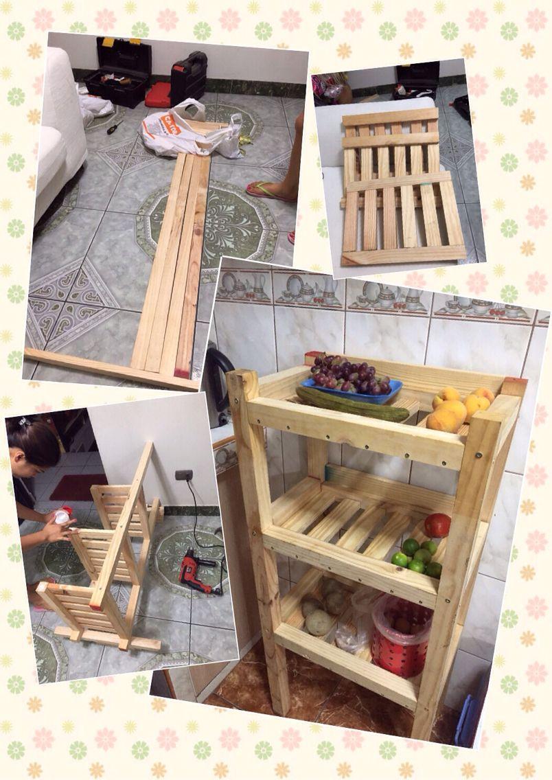 Frutero/verdulero DIY. Transformación de tablones de madera a un ...