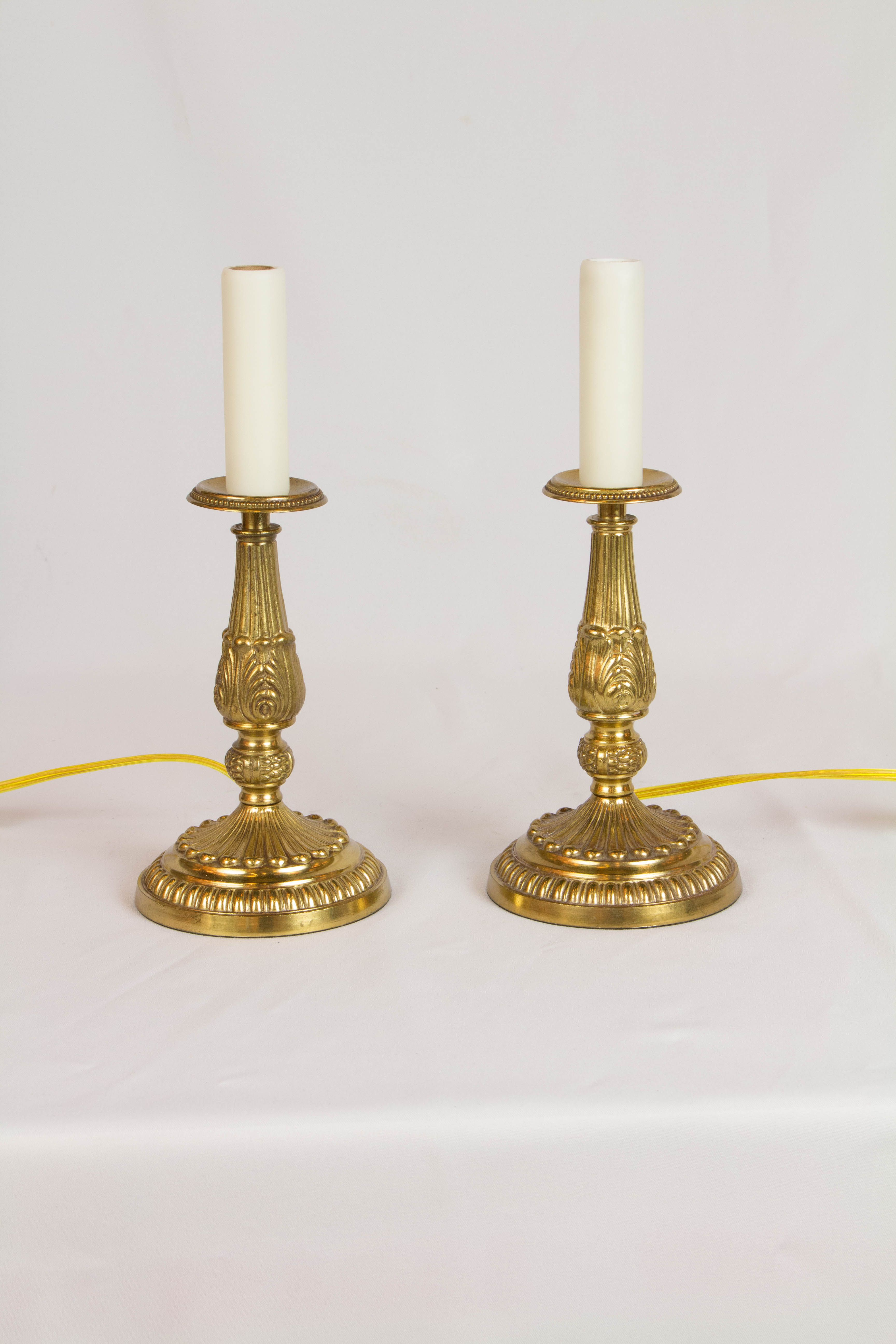 Pair Of French Style Candlestick Lamps