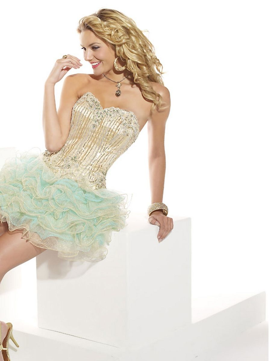 Multi-Color Satin Organza Sequined Bodice Strapless Sweetheart ...