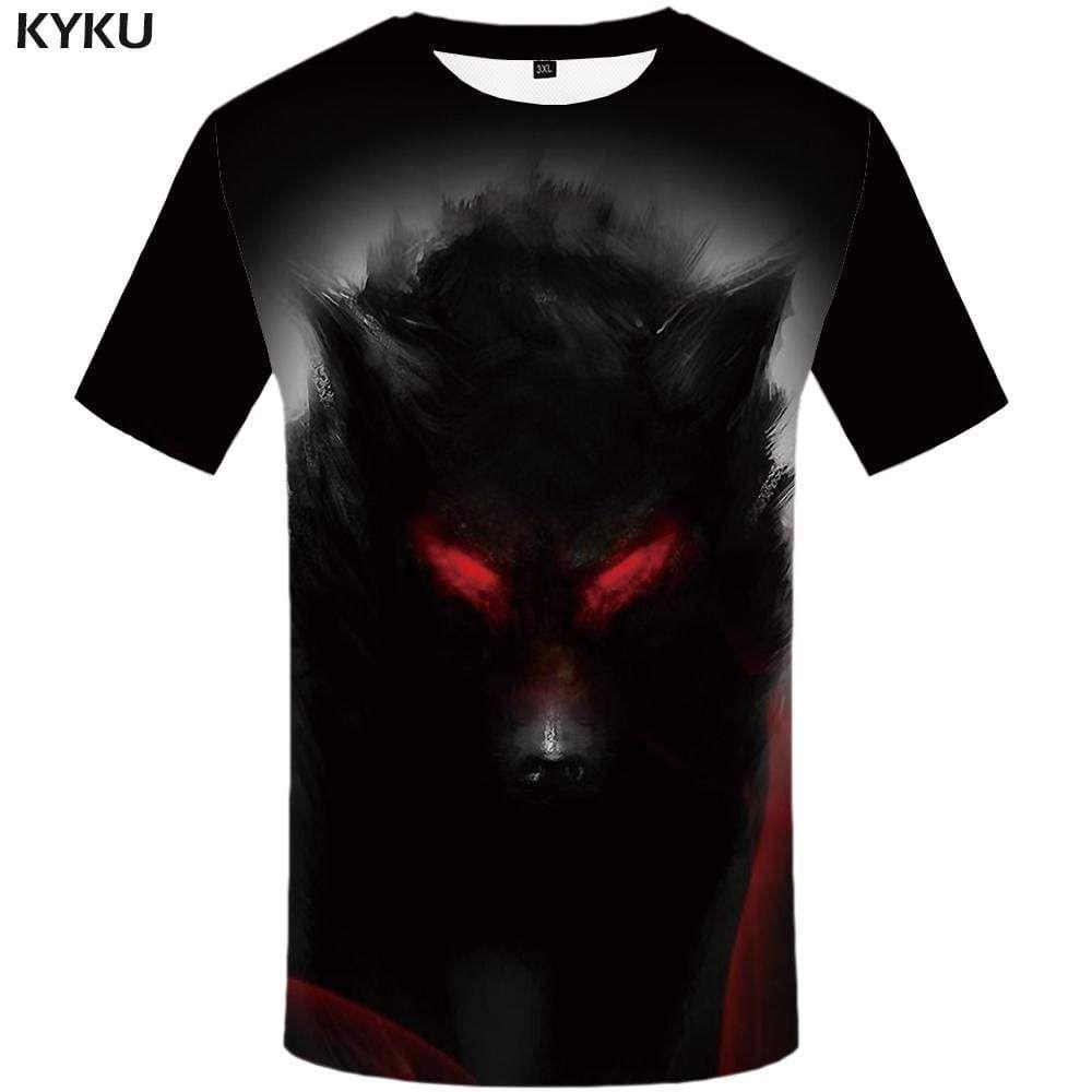 Photo of Wolf T shirt Men Animal Tshirts Print Graffiti Tshirt Anime Black T-shirt 3d Flame T shirts Funny Mens Clothing Graphic Unisex – M