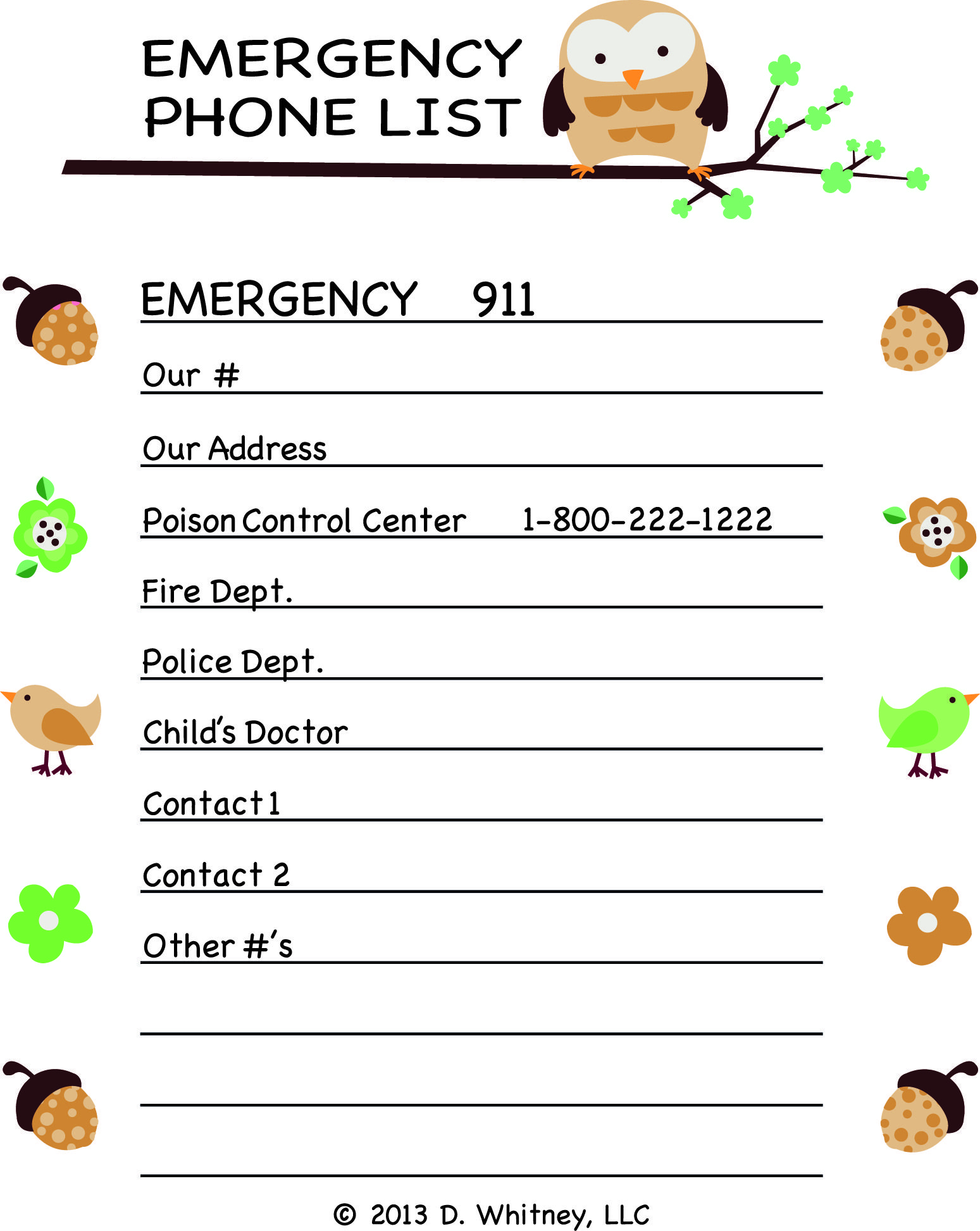 emergency phone number template